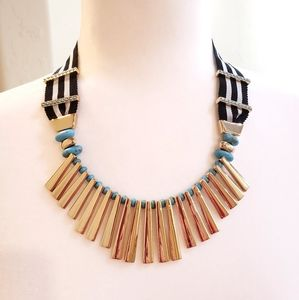 BaubleBar | Gold & Turquoise Ribbon Necklace